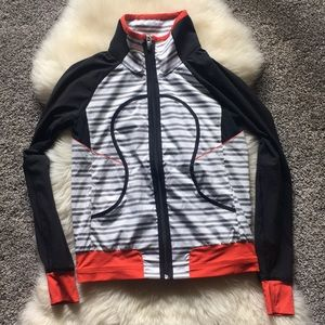 Lululemon Stripped ZIP Up Jacket Black White 6